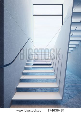 modern stairs in penthouse, 3d rendering