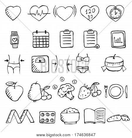 Set of hand drawn diet and healthy lifestyle icons set. Collection healthy lifestyle design elements.