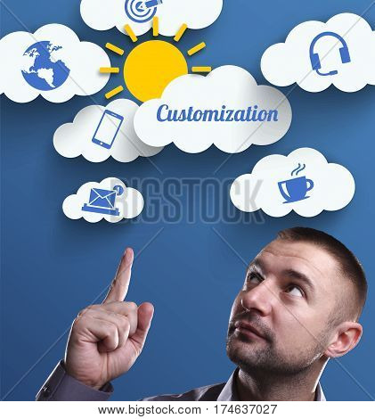 Business, Technology, Internet And Marketing. Young Businessman Thinking About: Customization