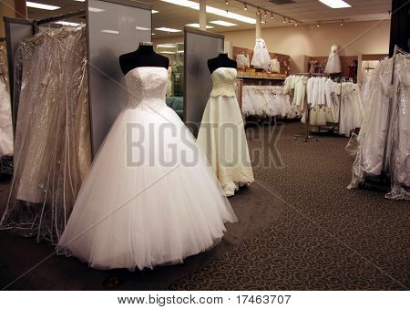 Inside of a Retail Wedding Dress  Boutique