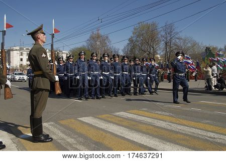 Tyumen Russia - May 9. 2009: Parade of Victory Day in Tyumen. Company of traffic police officers march on parade