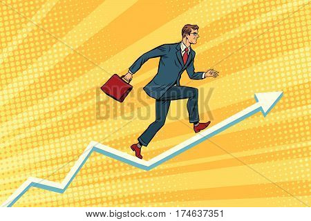 Businessman running on schedule growth. Pop art retro vector illustration poster