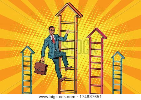 Businessman climbs up the stairs. Pop art retro vector illustration. African American people