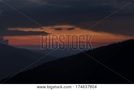 Mountain Landscape. Colorful sunset in the Carpathian mountains.