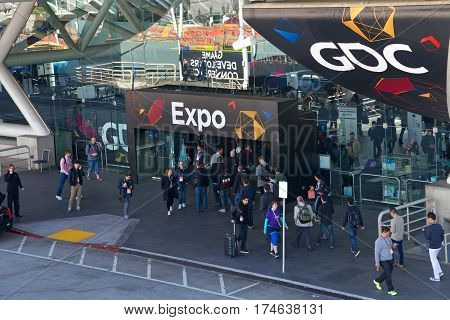 San Francisco CA - March 03 2017: Game Developers Convention 2017 EXPO entrance. GDC is the most important conference about video games development in the world at the Moscone Center South Hall.