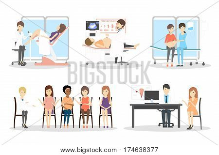 Prenatal clinic set. Isolated characters on white background. Sonography, gynecologist and pregnancy class.