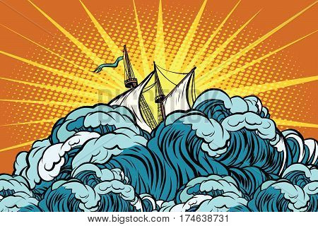 Retro sailing ship sinks in stormy waves. The sea and the ocean. Weather and the elements. Pop art retro vector illustration