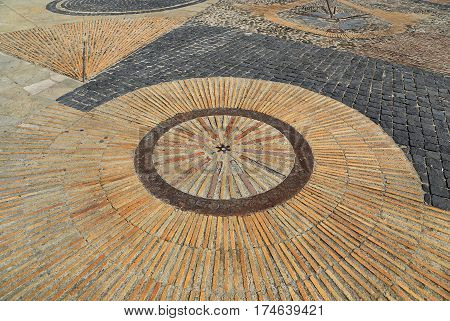 Pavement with concentric pattern. Patterned floor walkway in the park Montjuic Barcelona Catalonia Spain