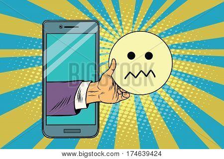 skepticism emoji emoticons in smartphone. Pop art retro vector illustration