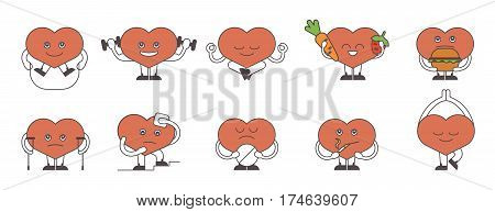Heart lifestyle set on white background. Healthy heart with fresh food and sport. Sick heart with cigarettes, pills and illness.