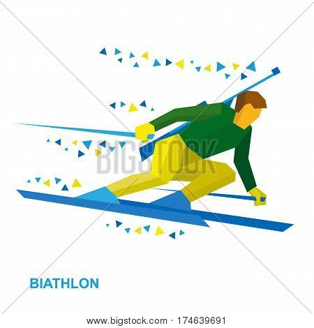Biathlon Player Going Skiing Fast With A Rifle