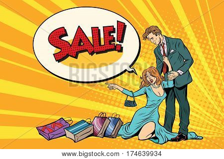 Wife and husband on sale. Pop art retro vector illustration. Business and shops
