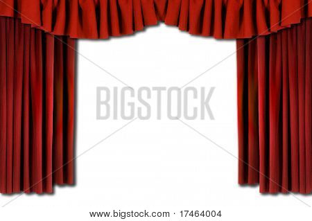 Red Horozontal Draped Theatre Curtains on white