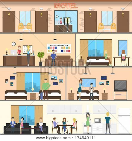 Motel interior set. Guest room, reception and berdrooms.Staff and residents.