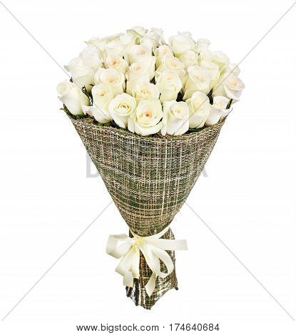 Flower bouquet of white roses isolated on white background.