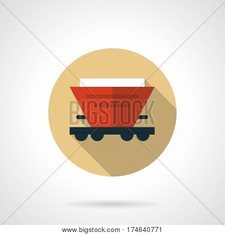 Symbol of hopper car for transportation of bulk freights. Railroad elements. Round flat design beige vector icon, long shadow.