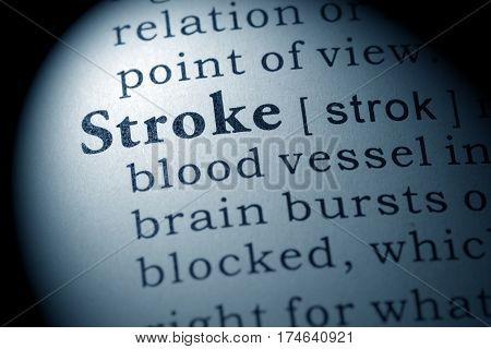 Fake Dictionary Dictionary definition of the word stroke. including key descriptive words.
