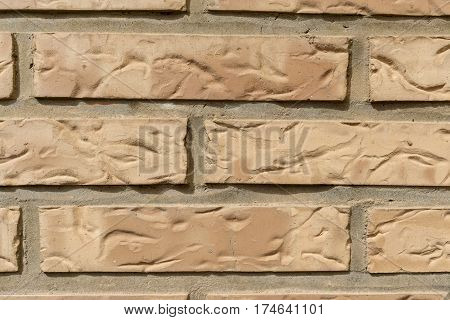 Brick wall vintage background in detail. Decorative wall cladding, wallcovering coating