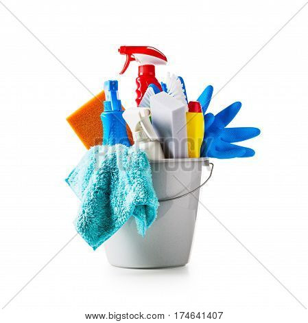Bucket with cleaning supplies isolated on white background. Single object with clipping path