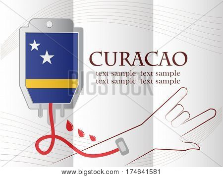 blood donation design made from the flag of Curacao conceptual vector illustration.