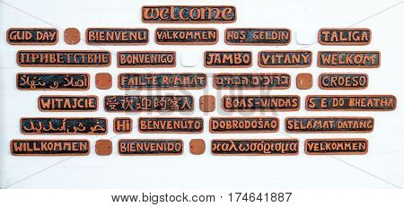 Welcome sign showing the word welcome in many languages