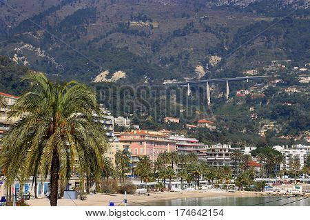 Beautiful view of Menton city French Riviera France
