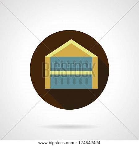 Symbol of yellow trade or show pavilion. Tents, marquee and other folding construction for commerce. Round flat design vector icon.
