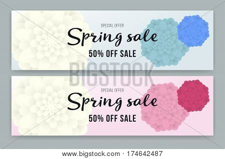 Spring Sale flyer or voucher design set. Vector illustration with Place for your text message. Poster, Sale Flyer with colorful flower. Best price. Wallpaper, invitation, brochure, voucher discount