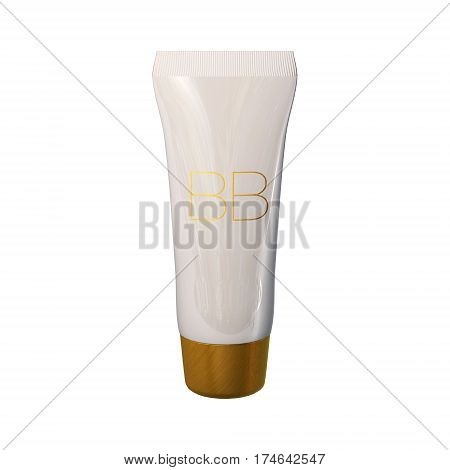 BB creame bottle mockup. Foundation tube ads template. Skin toner, skin perfector 3D illustration