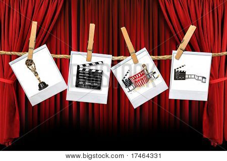 Movie Related Items on instant photo Film Hanging Against Theater Stage Draped Background