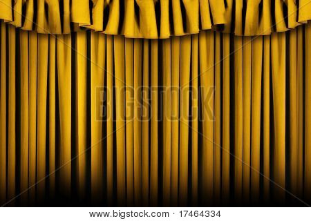 Gold Colored Stage Theater Drapes With Lots of Copyspace