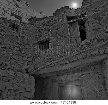 Crumbling eeire earthen house under the moonlight