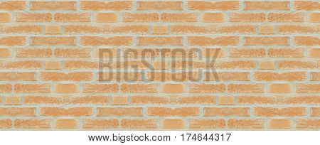Red Brown Vintage Brick Wall With Shabby Structure. Horizontal Wide Brickwall Background. Grungy Red Brick Blank Wall Texture. Retro House Facade. Abstract Web Banner. Distressed Stonewall Surface