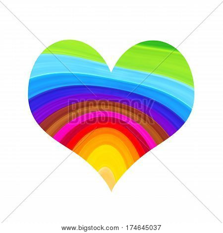 Abstract bright colorful heart isolated on white background