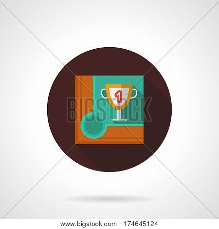 Billiard or snooker championship symbol. Corner of table with first place award. Round flat design vector icon.