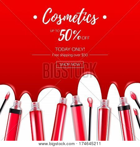 Spilled red lip gloss with applicators background. Make-up cosmetic products vector 3D illustration. Good for ads banner poster design.