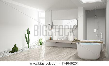 Minimalist White Bathroom With Succulent Garden, Wooden Floor And Pebbles, Hotel, Spa, Modern Interi
