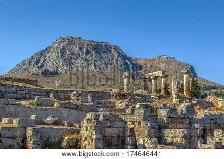 The ruins of the Temple of Apollo in ancient Corinth Greece