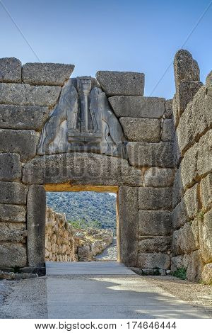 The Lion Gate in Mycenae Greece. The Lion Gate was the main entrance of the Bronze Age citadel of Mycenae