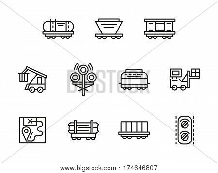 Railroad logistics elements. Railway transportation of cargo, freights. Different types of rail cars. Collection of simple black line design vector icons.