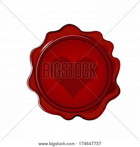 Red wax seal with heart on white background