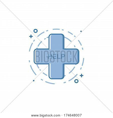 Vector illustration of filled bold outline cross icon. Graphic design concept of medical help and support . Blue flat line isolated object.