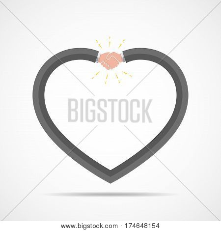 Abstract handshake icon. Handshake sign in the shape of heart on white background. Vector illustration.
