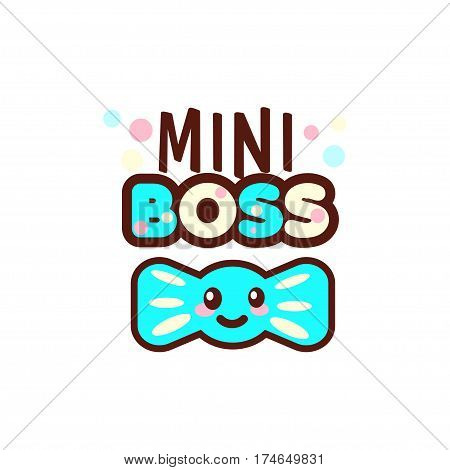 The vector illustration of blue ribbon and the mini boss text with stylish kawaii emoji. Gift for boy