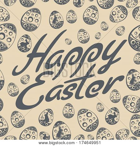 Easter Lettering Pattern Grey