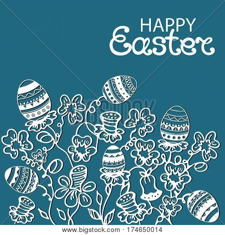 Happy Easter greeting card with flowers and paschal eggs on a blue background.