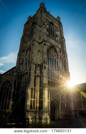 Saint Peter Mancroft Church in Norwich in strong sunlight