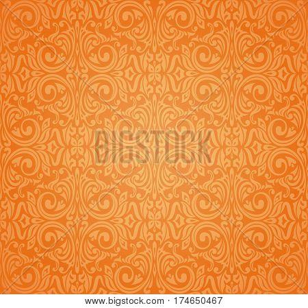 Orange colorful decorative floral vintage background design