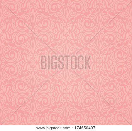 Pink vector floral decorative vintage design background