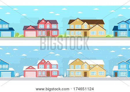 Summer and Winter town. Urban winter and summer landscape. Vector illustration, flat style. Seamless Neighborhood with homes in winter and summer time.